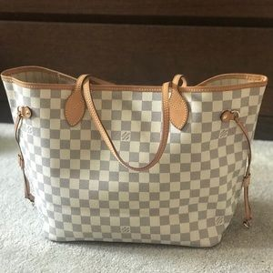 Louis Vuitton neverfull mm damier azure tote